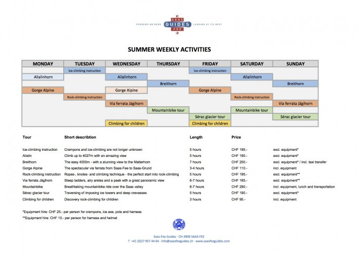 Our weekly activities for summer 2017